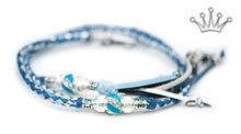 Kangaroo leather show lead in jacaranda, baby blue & silver - Emoticon Kangaroo Leather Show Leads