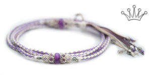 Kangaroo leather show lead in lavender & white - Emoticon Kangaroo Leather Show Leads