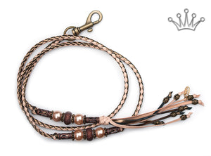 Kangaroo leather show lead in natural & bronze - Emoticon Kangaroo Leather Show Leads