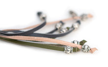 Kangaroo leather show lead in natural, olive & grey