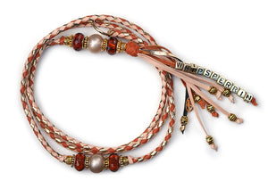 Kangaroo leather show lead in natural, saddle tan & gold - Emoticon Kangaroo Leather Show Leads