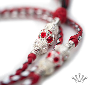 Kangaroo leather show lead in red & silver