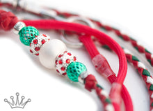Kangaroo leather show lead in red, white & jade - Emoticon Kangaroo Leather Show Leads