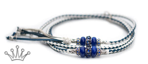 Kangaroo leather show lead in royal blue & white