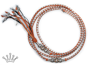 Kangaroo leather show lead in saddle tan & silver - Emoticon Kangaroo Leather Show Leads