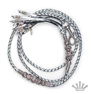 Kangaroo leather show lead in silver - Emoticon Kangaroo Leather Show Leads