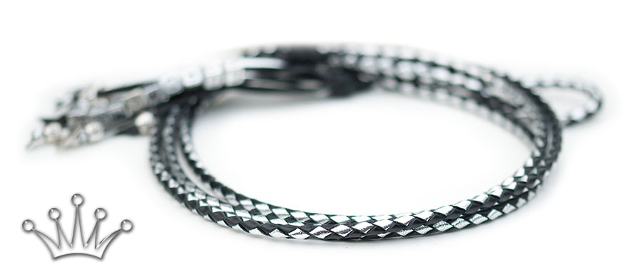 Kangaroo leather show lead in silver & black - Emoticon Kangaroo Leather Show Leads
