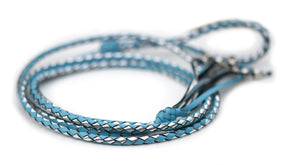 Kangaroo leather show lead in sky blue & silver - Emoticon Kangaroo Leather Show Leads