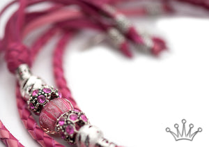 Kangaroo leather show lead in soft pink & hot pink - Emoticon Kangaroo Leather Show Leads
