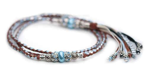Kangaroo leather show lead in whisky, baby blue & silver - Emoticon Kangaroo Leather Show Leads