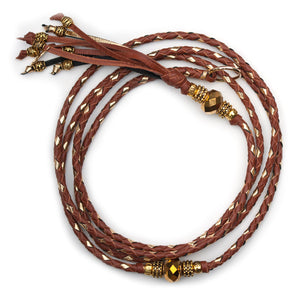 Kangaroo leather show lead in whisky & gold - Emoticon Kangaroo Leather Show Leads