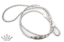 Kangaroo leather show lead in white, dove grey & silver