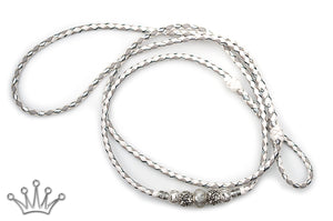 Kangaroo leather show lead in white, dove grey & silver - Emoticon Kangaroo Leather Show Leads