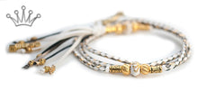 Kangaroo leather show lead in white, gold & pewter - Emoticon Kangaroo Leather Show Leads