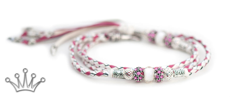 Kangaroo leather show lead in white, silver & hot pink - Emoticon Kangaroo Leather Show Leads