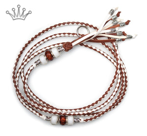 Kangaroo leather show lead in white & whisky - Emoticon Kangaroo Leather Show Leads