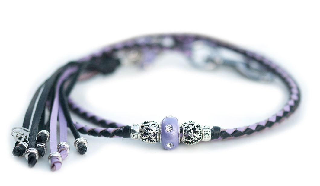 Kangaroo leather show lead in lavender & black