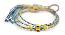 Kangaroo leather show lead in yellow, jacaranda & sky blue