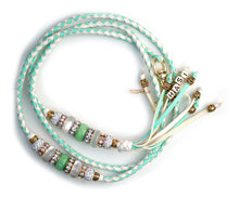 Kangaroo leather show lead in mint & white