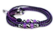 Kangaroo leather show lead in moroccan purple & black - Emoticon Kangaroo Leather Show Leads