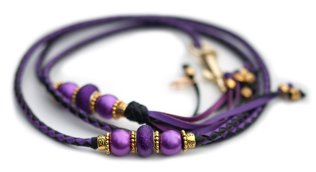 Kangaroo leather show lead in moroccan purple & black - Utställningskoppel