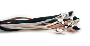 Kangaroo leather show lead in natural, black & white