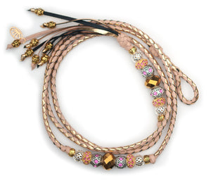 Kangaroo leather show lead in natural & gold