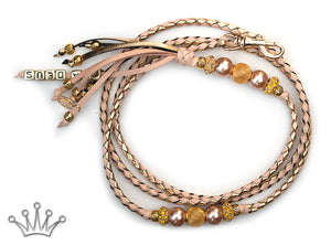 Kangaroo leather show lead in gold & natural - Emoticon Kangaroo Leather Show Leads
