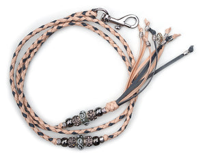 Kangaroo leather show lead in natural & grey - Emoticon Kangaroo Leather Show Leads