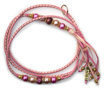 Kangaroo leather show lead in natural & soft pink - Utställningskoppel