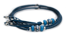 Kangaroo leather show lead in navy & royal blue