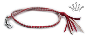 Kangaroo leather show lead in red & dove grey - Emoticon Kangaroo Leather Show Leads