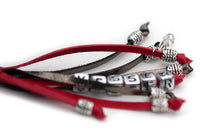 Kangaroo leather show lead in red & pewter