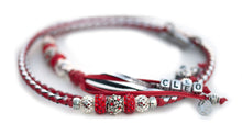 Kangaroo leather show lead in red & silver Utställningskoppel