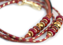 Kangaroo leather show lead in saddle tan, red & gold