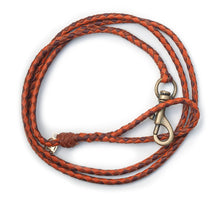 Kangaroo leather show lead in saddle tan, whisky & chestnut