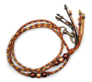 Kangaroo leather show lead in saddle tan, yellow & bronze