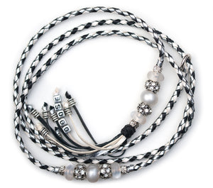 Kangaroo leather show lead in silver, black & white