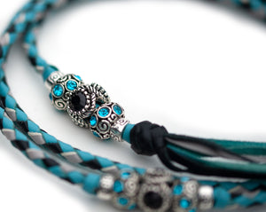Kangaroo leather show lead in sky blue, dove grey & black