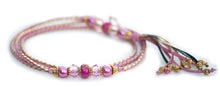 Kangaroo leather show lead in soft pink & gold utställningskoppel