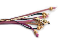 Kangaroo leather show lead in soft pink & gold