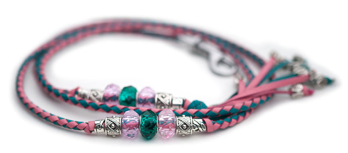 Kangaroo leather show lead in turquoise & soft pink - Emoticon Kangaroo Leather Show Leads
