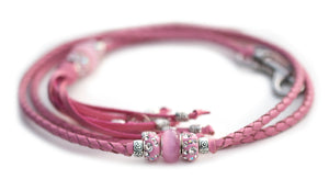 Kangaroo leather show lead in soft pink utställningskoppel