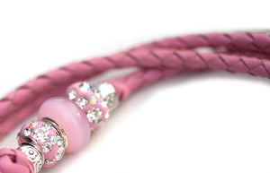 Kangaroo leather show lead in soft pink