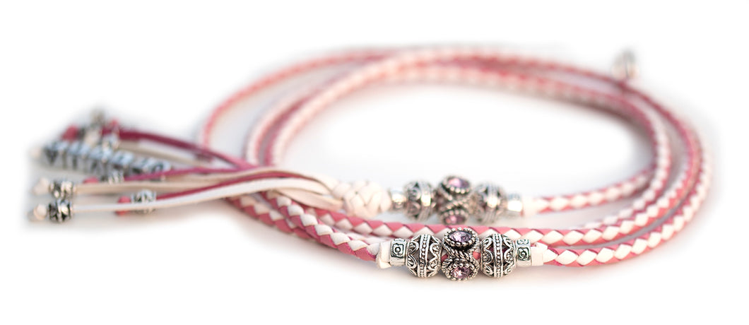 Kangaroo leather show lead in soft pink & white