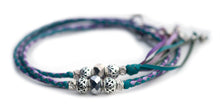 Kangaroo leather show lead in soft turquoise, lavender & moroccan purple utställningskoppel
