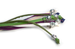 Kangaroo leather show lead in white, apple & purple
