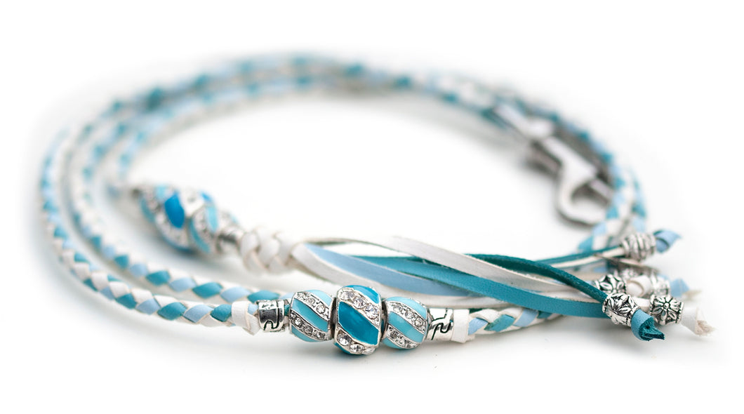 Kangaroo leather show lead in white, baby blue & sky blue