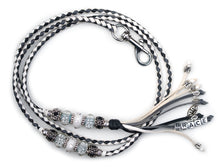 Kangaroo leather show lead in white, black & grey