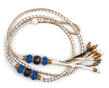 Kangaroo leather show lead in white & gold